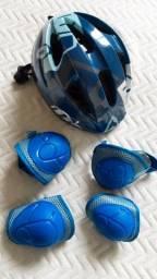 Kit capacete, joelheira e cotoveleiras
