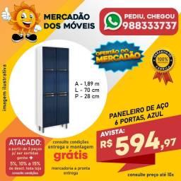 Paneleiro De Aço 6 Portas Azul Em Oferta!!!