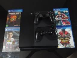 Playstation 4 FAT 2 controles+ jogos