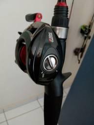 Carretilha Abu Garcia esquerda ( Usada ) + Vara de Carbono Solido Marina Sport ( Nova )