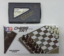 4 Jogos Divertidos Dominó + Dama + Xadrez + Jogo Da Velha