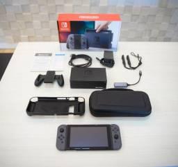 Nintendo Switch Cinza Na Caixa + Bag - Impecável!