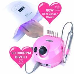Cabine UV Led SunX Led Uv 80w e Lixa Eletrica Porquinho 35.000RPM Gecika