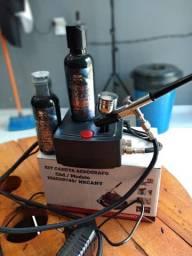 Aerógrafo completo acompanha 2 tintas de alta duração novo na caixa. *