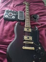 Guitarra SG Golden + Pedaleira Zoom G2.1u