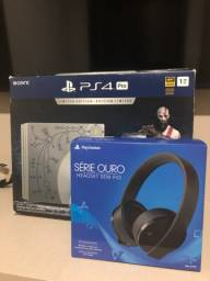 PS4 Pro + Headset Série Ouro Sony + 1 jogo