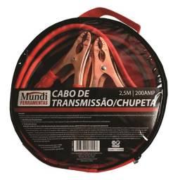 Cabo de chupeta P/ bateria de automovel 2,5m com bolsa 200A - Mundi