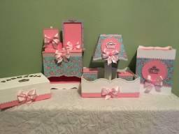 Kit higiene bebê rosa florido