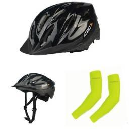 Manguito, e capacete para ciclista