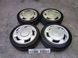 """Rodas Orbital Gomao aro 16"""" 4x100 com pneus"""