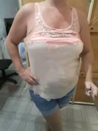 Blusa rosa com paetês da aquamar