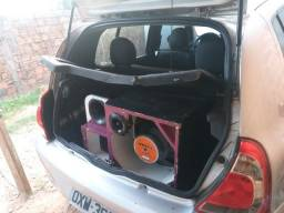 Caixa trio completa +modulo + aparelho de som automotivo Bluetooth