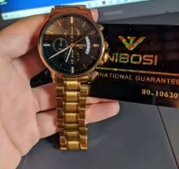 Relógio Masculino Nibosi 1985 Aço Dourado Novo