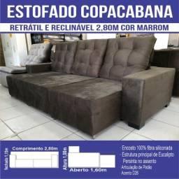 Sofá CopaCabana Reclinável e Retrátil  2,80m Marrom
