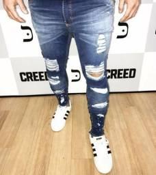 Linda calça jeans lançamento 2018 estilo jogadores futebol