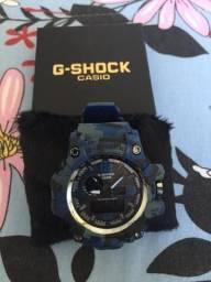 Relógio Casio G-SHOCK camuflado cinza com azul