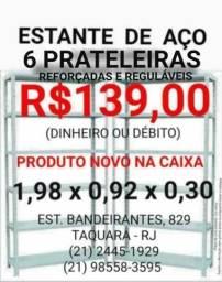 Estante (Nova) de Aço 6 prateleiras R$139,00 Dinheiro ou Débito - Cor cinza