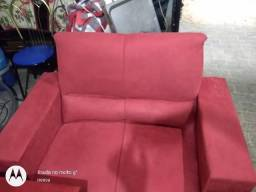 Conj sofá veludo amassado vermelho