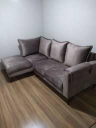Sofá em tecido veludo (peça nova)