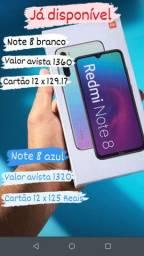 Note 8 na cores azul e branco de 64gb