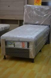 Cama box solteiro com 10 cm de espuma - Novo