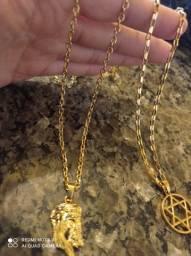 Promoção até Quinta corrente masculina Banhadas a ouro 18k brinde pingente 99,99 entrego