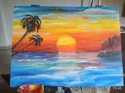 Pintura em tela decorativa. O mar