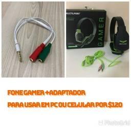 Fone GaMer+ Adaptador (para usar em celular)