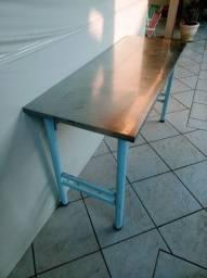 Mesa Industrial Tampo Inox/Madeira 60X1,20cm