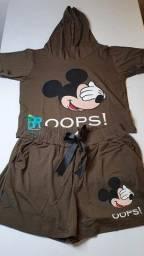 Conjunto short e blusa Mickey/Minnie