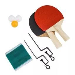 Kit Ping Pong Tenis De Mesa 2 Raquetes 3 Bolas Suporte Rede