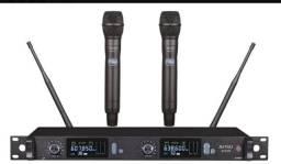 Microfone Sem Fio Duplo De Mão Digital Pll Amw Au500 Multi ! Corpo de metal.