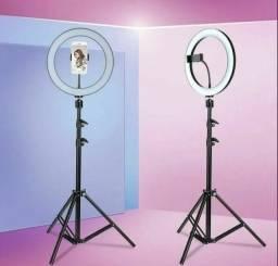 Iluminador Ring light 26cm com tripé 2 metro