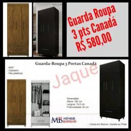 Guarda Roupa 3 pts Canadá/ Montagem Grátis.