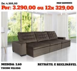 Promoção Presidente Prudente - Conjunto Sofa Retratil e Reclinavel 3 lugares