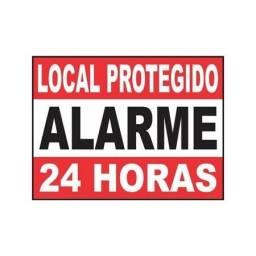 Placa de Alumínio Alarme Local Protegido 24h
