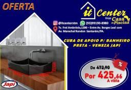 Cuba de Apoio Veneza preta para banheiro