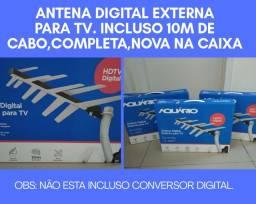 Kit antena digital, novo na caixa com 10 metros cabo incluso