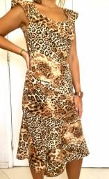 Vestido mídi com estampa animal print