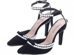 Sapato Scarpin Metalizado Salto Fino Nobuck Preto Mod.67000C