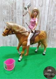 Boneca Barbie Pernas Articuladas + Cavalo Patas Articuladas