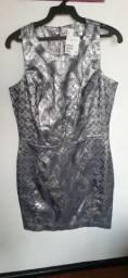 Vestido h&m em tecido jacquard metálico novo!