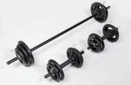 [Novo] Anilhas e halteres 40kg de peso + 2 barras de 40cm + 1 barra de 120cm + 6 presilhas comprar usado  Itabuna