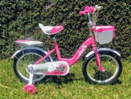 Bicicleta Infantil aro 16 com rodinhas de led
