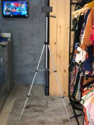 Tripé profissional para câmera e celular bem resistente