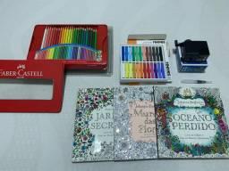 Kit pintura - Lápis / livros de pintura / apontador / caneta water