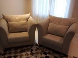 Conjunto sofa 3 lugares e 2 poltronas almofadas soltas