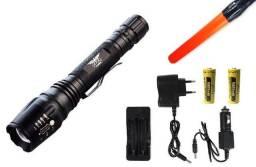 Lanterna Tática Led T6 Led Potente 2 Baterias Recarregável