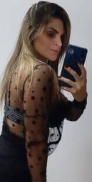 Camisa transparente preta tam unico