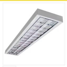 Luminária sobrepor tubular alto rendimento 2 lâmpadas retangular 120cm